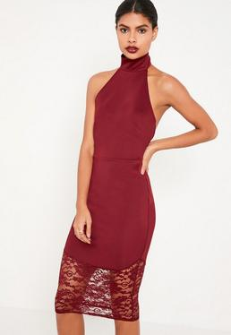 Burgundy Lace Fishtail Halterneck Midi Dress