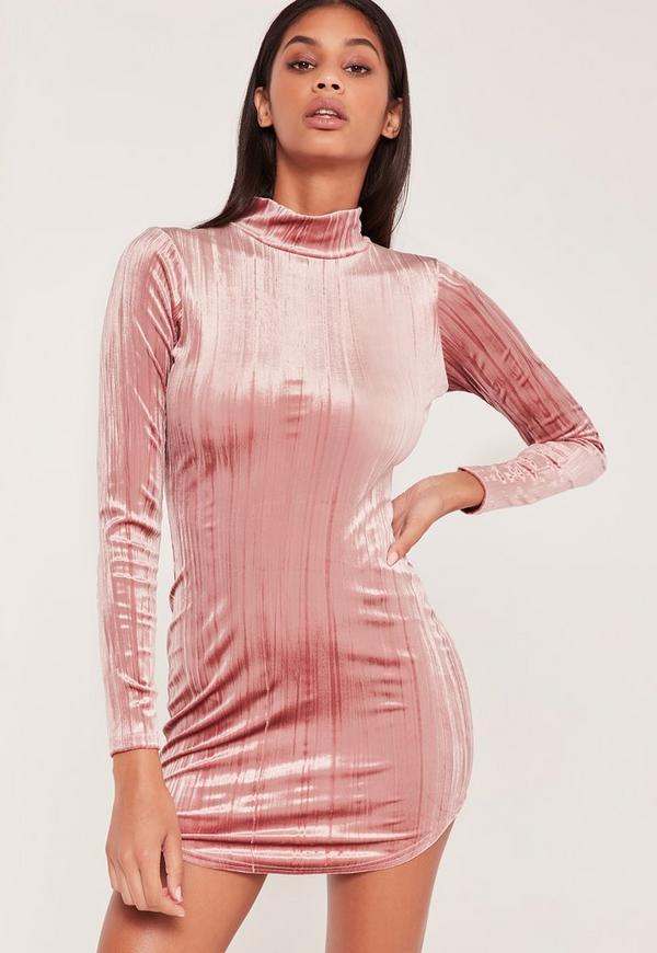 Pleated Velvet Curve Hem Bodycon Dress Pink