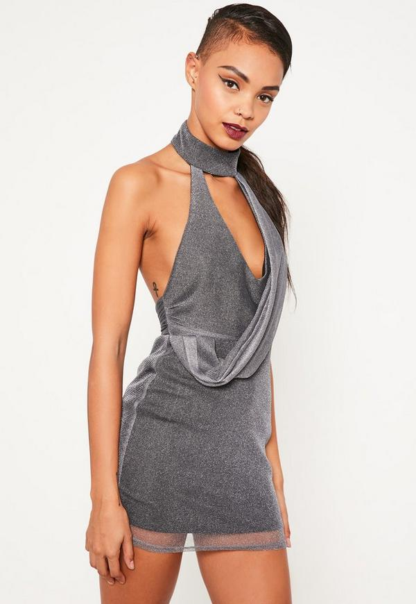 Grey Metallic Choker Neck Wrap Mini Dress