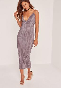 Grey Silky Pleated Ankle Grazer Maxi Dress