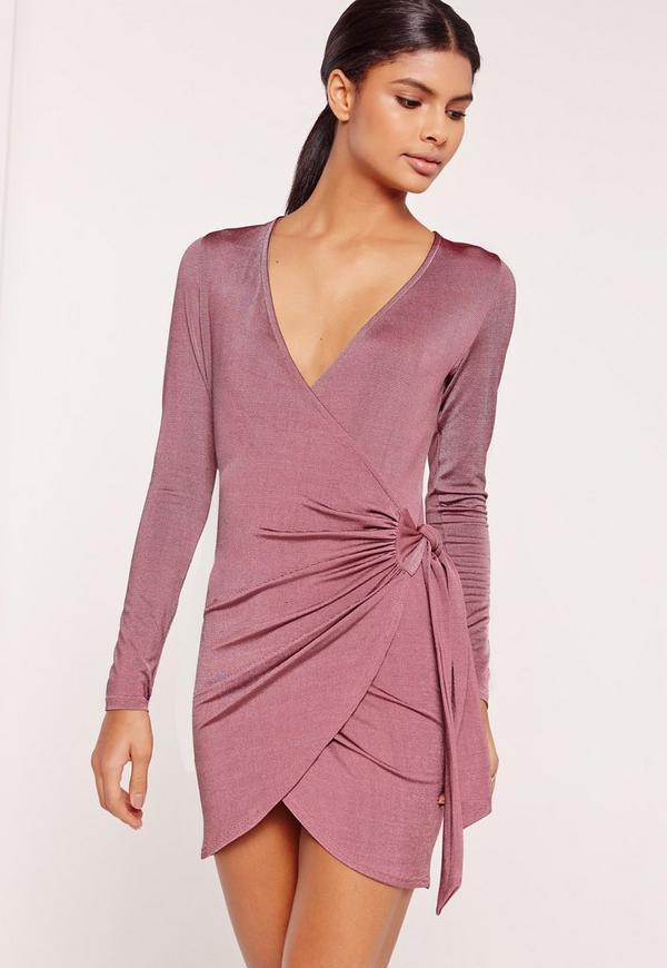 Silky Wrap Tie Waist Shirt Dress Purple