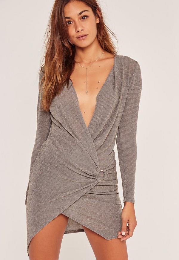 Lurex Long Sleeve Wrap Hoop Dress Grey