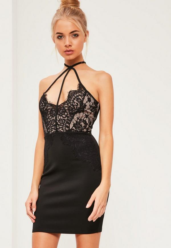 Black Lace Top Harness Bodycon Dress