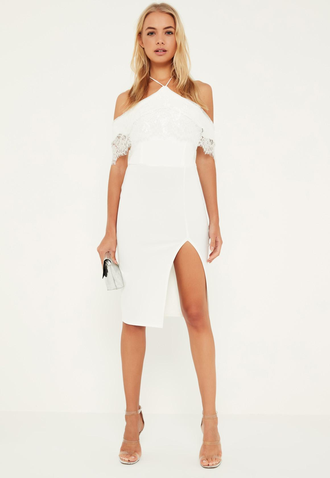 White Lace Frill Bardot Halter Midi Dress | Missguided