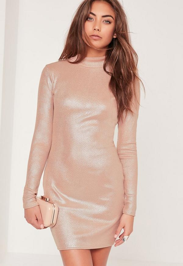 High Neck Shimmer Rib Bodycon Dress Nude