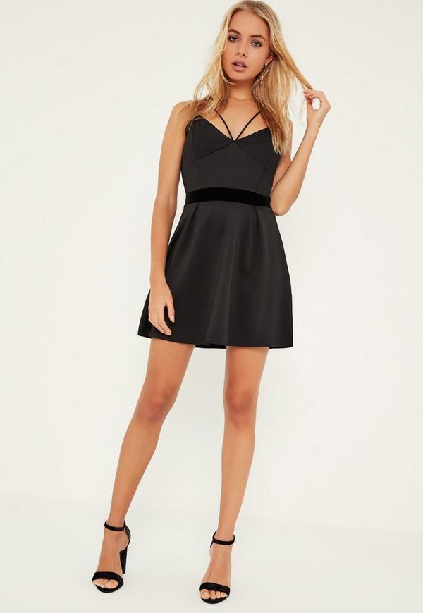Black Velvet Waistband Scuba Skater Dress