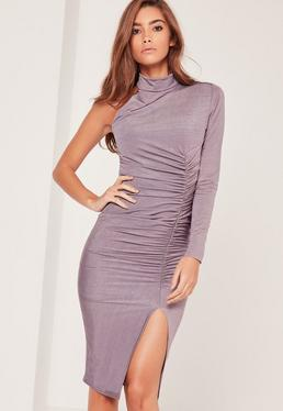 Purple One Shoulder Ruched Slinky Midi Dress