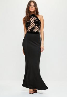 Black Grid Flock Fishtail Maxi Dress