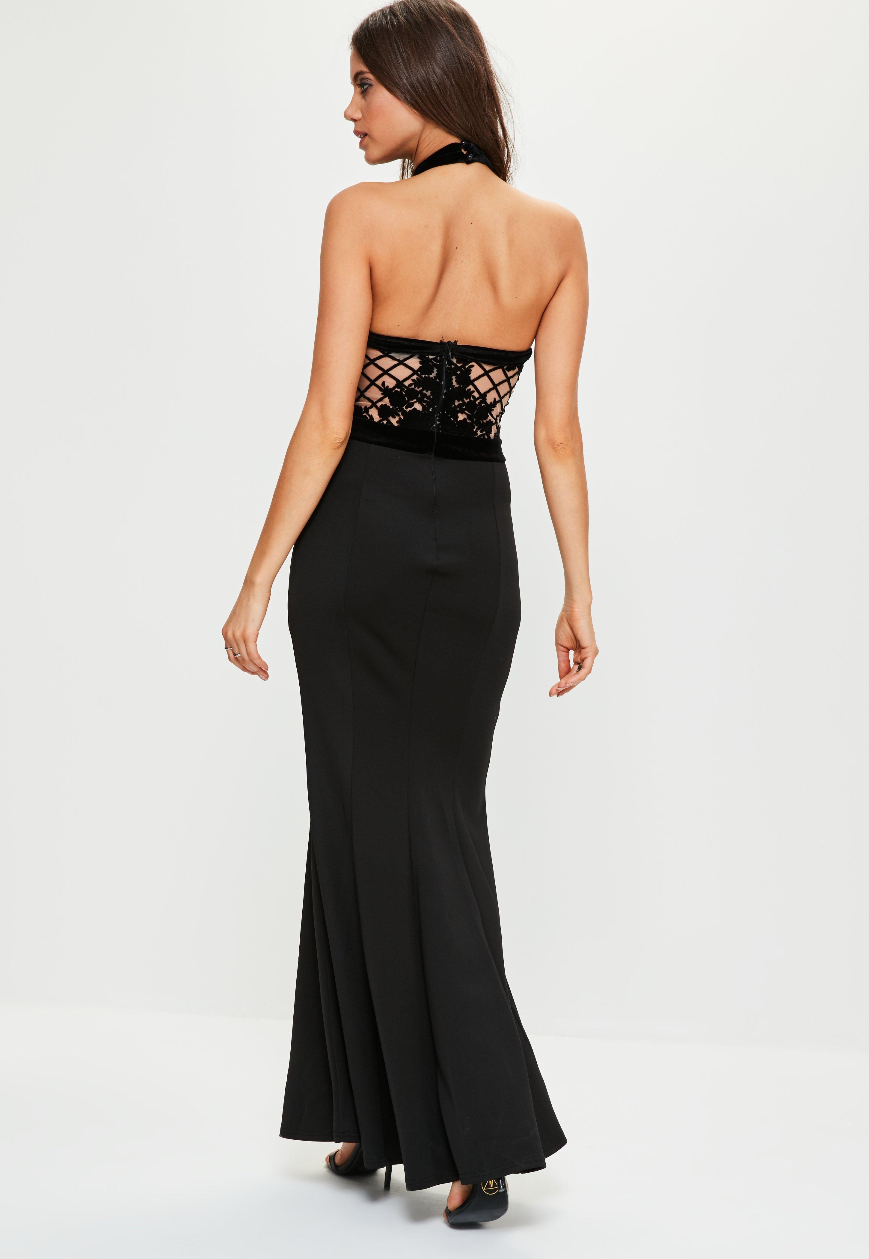 Black Grid Flock Fishtail Maxi Dress