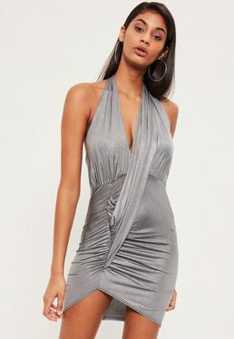 Silver Gathered Drape Halterneck Bodycon Dress