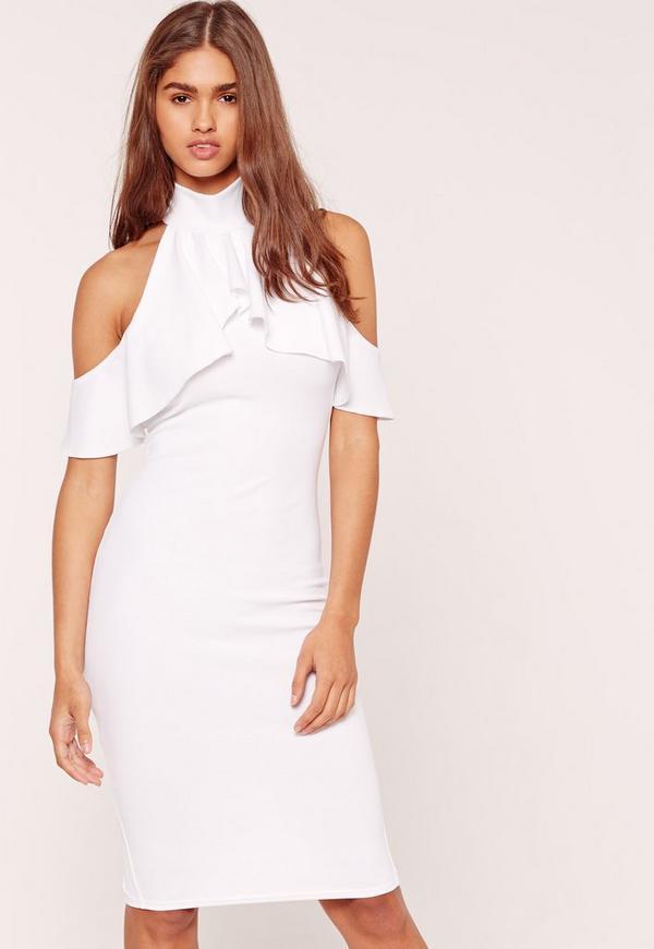 High Neck Frill Cold Shoulder Midi Dress White