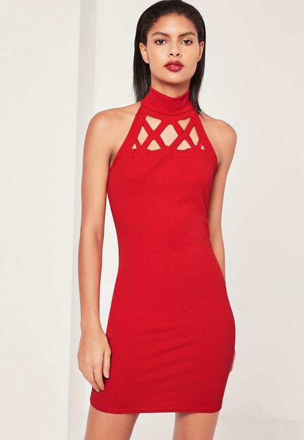 Red Laser Cut Out Halterneck Bodycon Dress