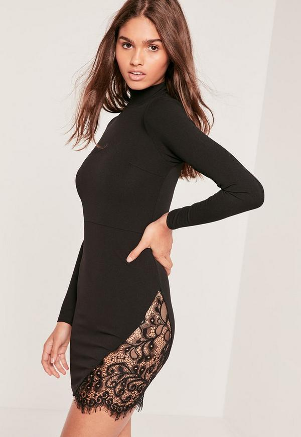 Black Lace Insert Thigh Split Bodycon Dress