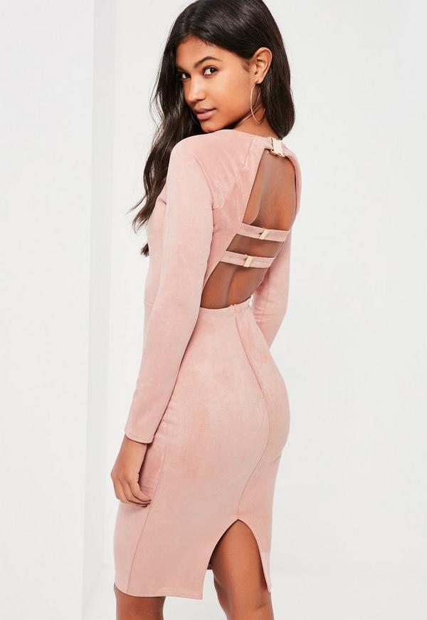 Pink Bonded Suede Buckle Back Midi Dress
