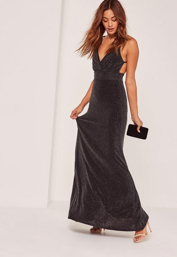 Metallic Wrap Maxi Dress Black