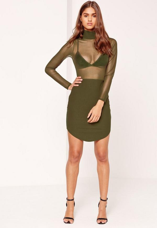 Mesh Top Split Hem Bodycon Dress Khaki
