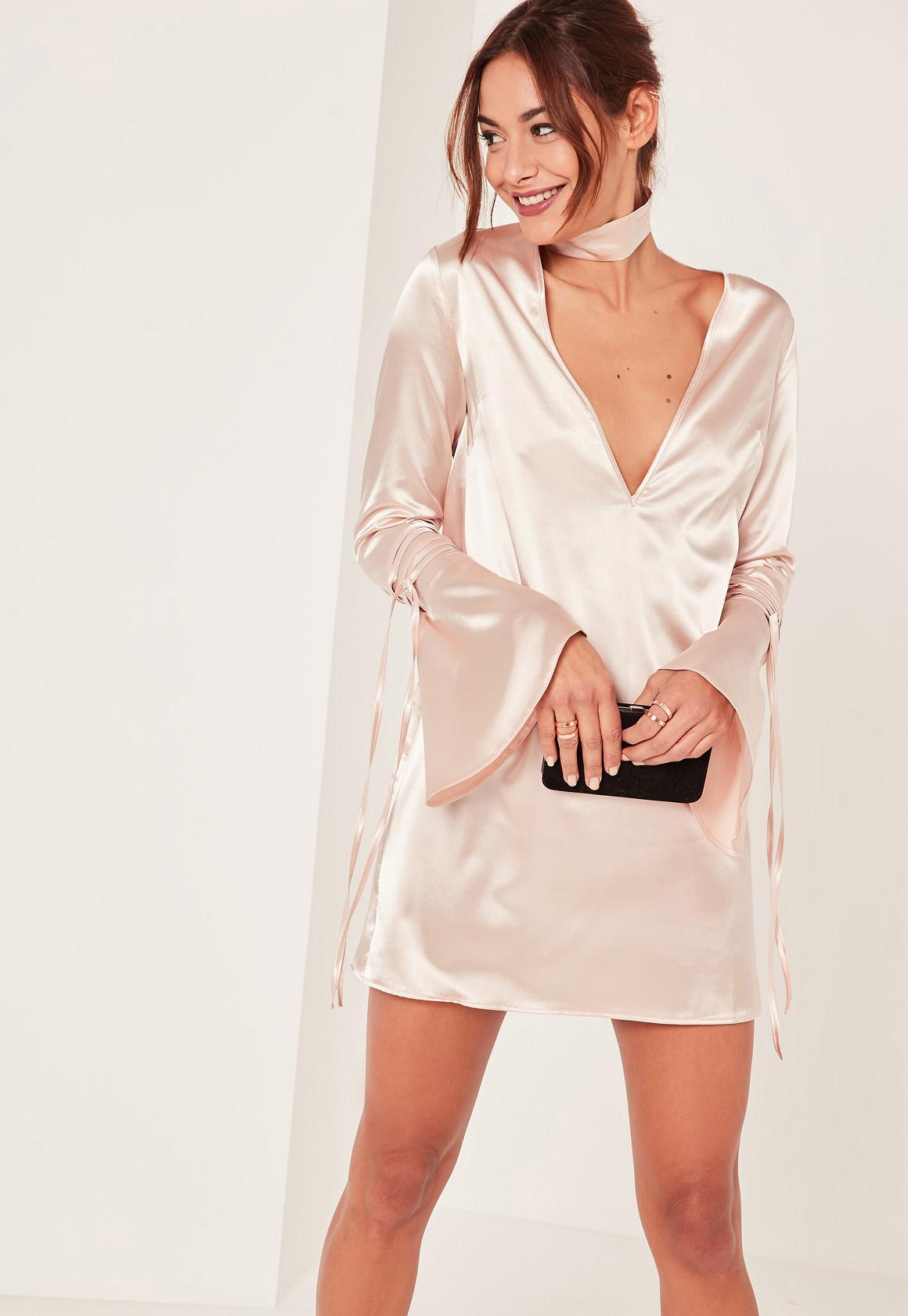 Nude 2 piece choker neck plunge satin shift dress