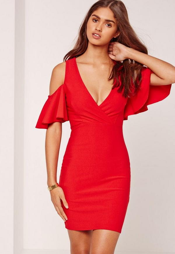 Frill Cold Shoulder Plunge Bodycon Dress Red