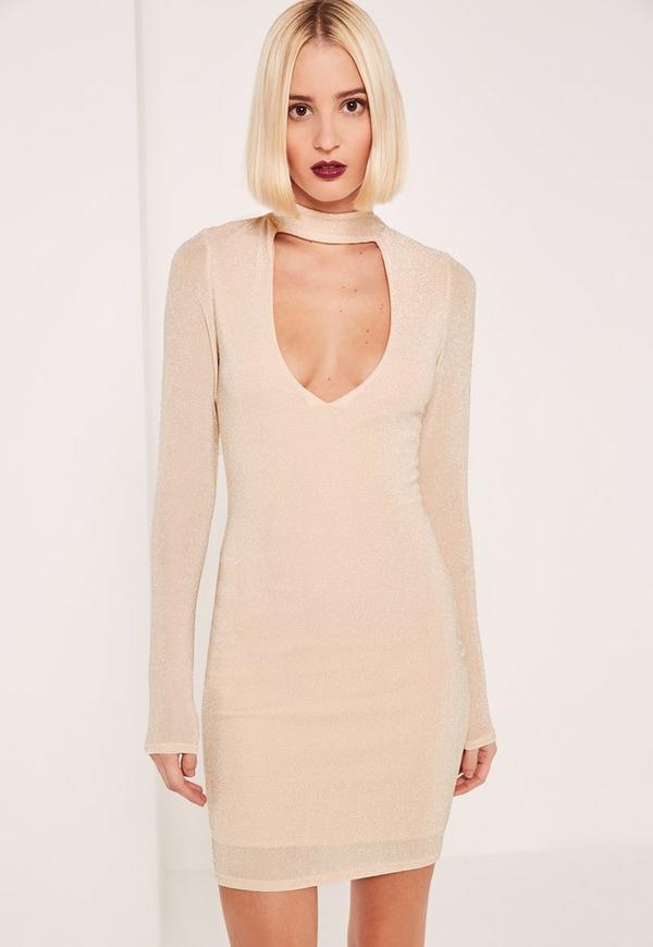 Nude Lurex Choker Neck Curve Hem Bodycon Dress