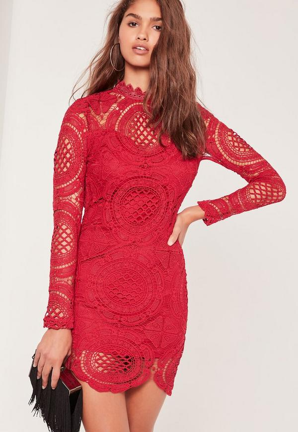Scallop Circle Lace Bodycon High Neck Dress Red