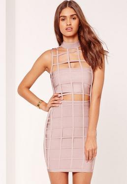 Premium Grid Style Bandage Mini Dress Lilac