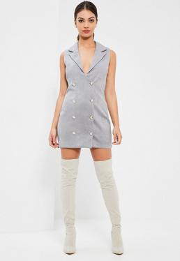 Grey Bonded Faux Suede Blazer Dress