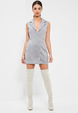 Szara zamszowa dwurzędowa sukienka marynarka bez rękawów