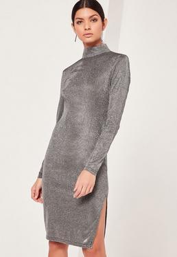 Glitter High Neck Mini Dress Silver