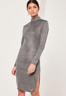 Glitter High Neck Mini Dress Silver