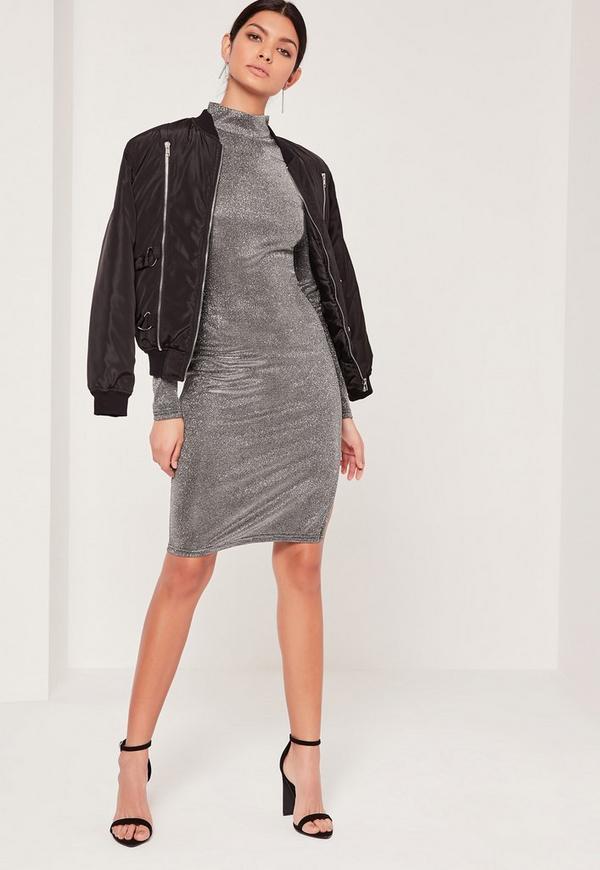 Glitter High Neck Mini Dress Silver Missguided
