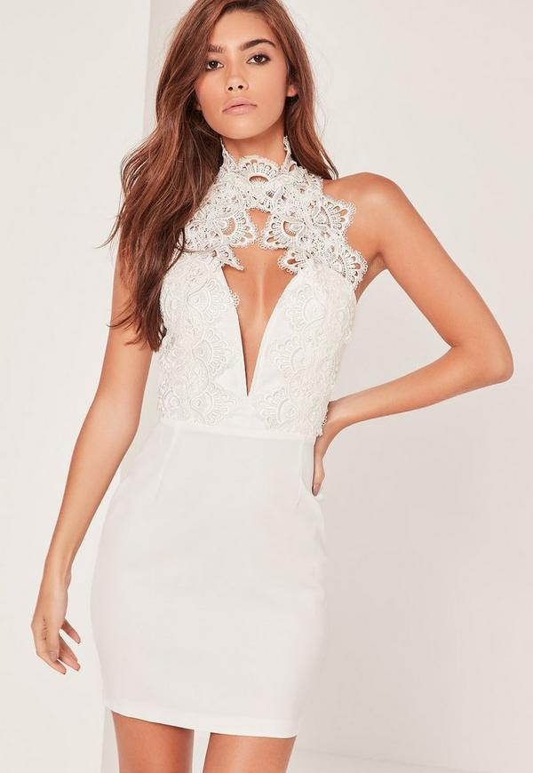 abb55bcac3e2 White Lace High Neck Deep V Mini Dress