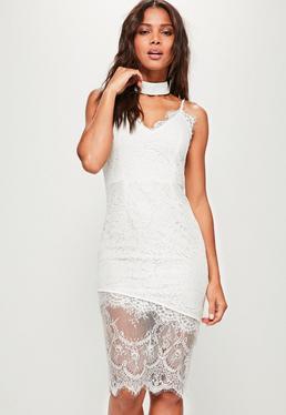 Vestido midi de tirantes de encaje blanco