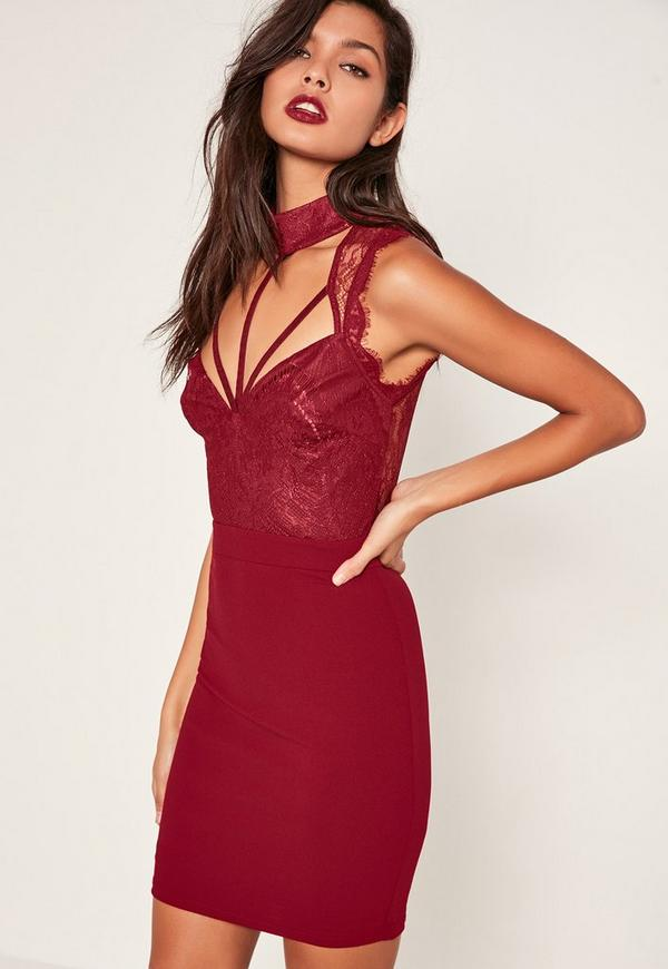Red Lace Cami Choker Bodycon Dress