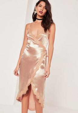Lace Wrap Satin Cami Midi Dress Pink