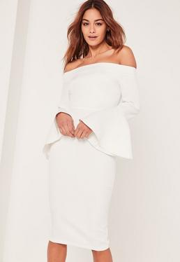 White Bardot Frill Sleeve Tailored Midi Dress