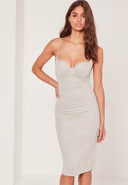 Faux Suede Midi Dress Grey