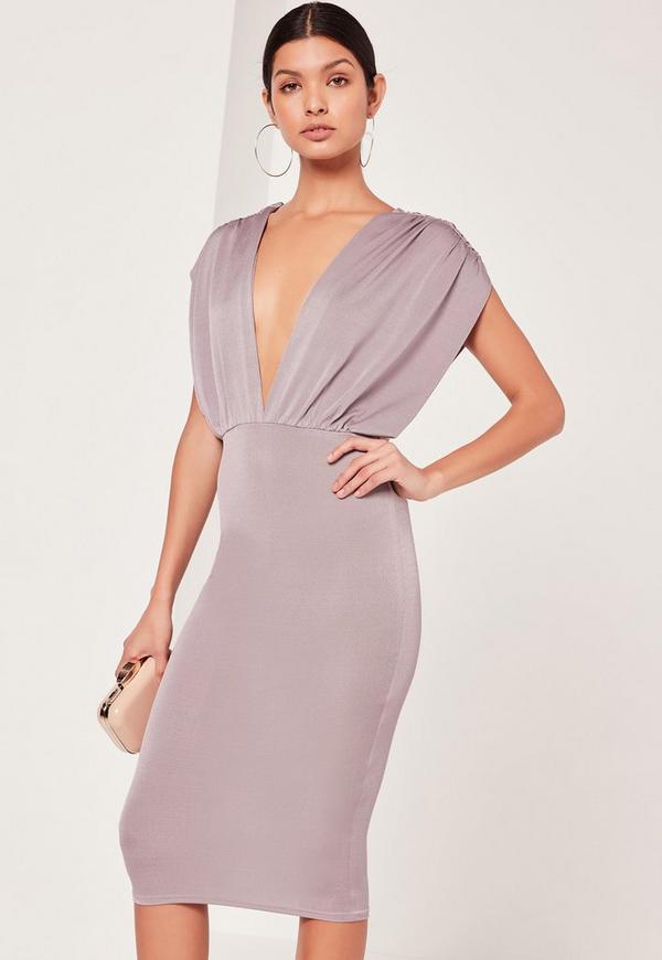 Plunge Wide Sleeve Midi Dress Grey