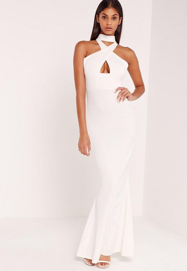 Wrap Front Neck Fishtail Maxi Dress White