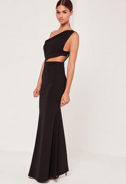 One Shoulder Cut Out Waist Maxi Dress Black