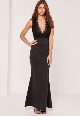 Black Lace Top Plunge Maxi Dress
