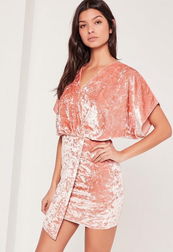Velvet Kimono Sleeve Wrap Dress Pink