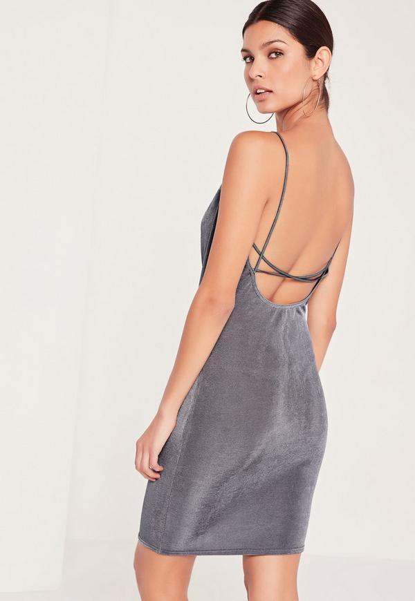 Cross Back Cowl Neck Slinky Dress Grey