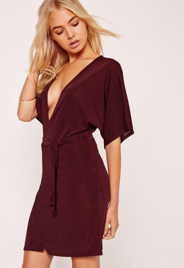 Kimono Sleeve Belted Wrap Dress Burgundy