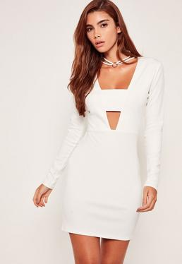 Hoop Choker Neck Bodycon Dress White