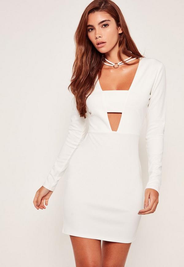 Hoop Choker Neck Bodycon Dress White
