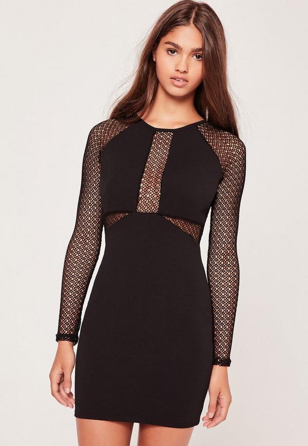 Long Sleeve Fishnet Panel Bodycon Dress Black