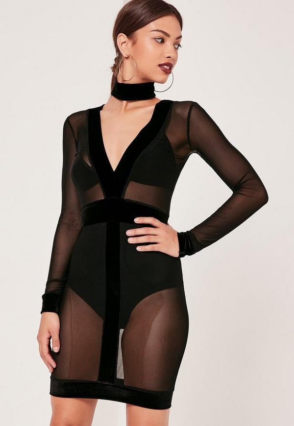 2 Piece Choker Neck Velvet Mesh Bodycon Dress Black