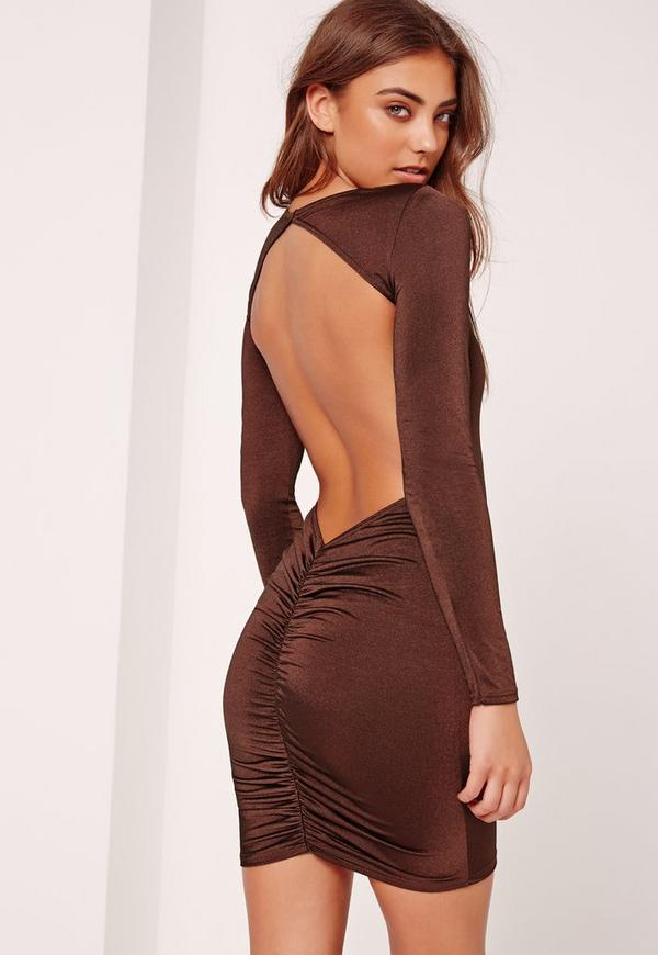 Open Back Gathered Bodycon Dress Brown