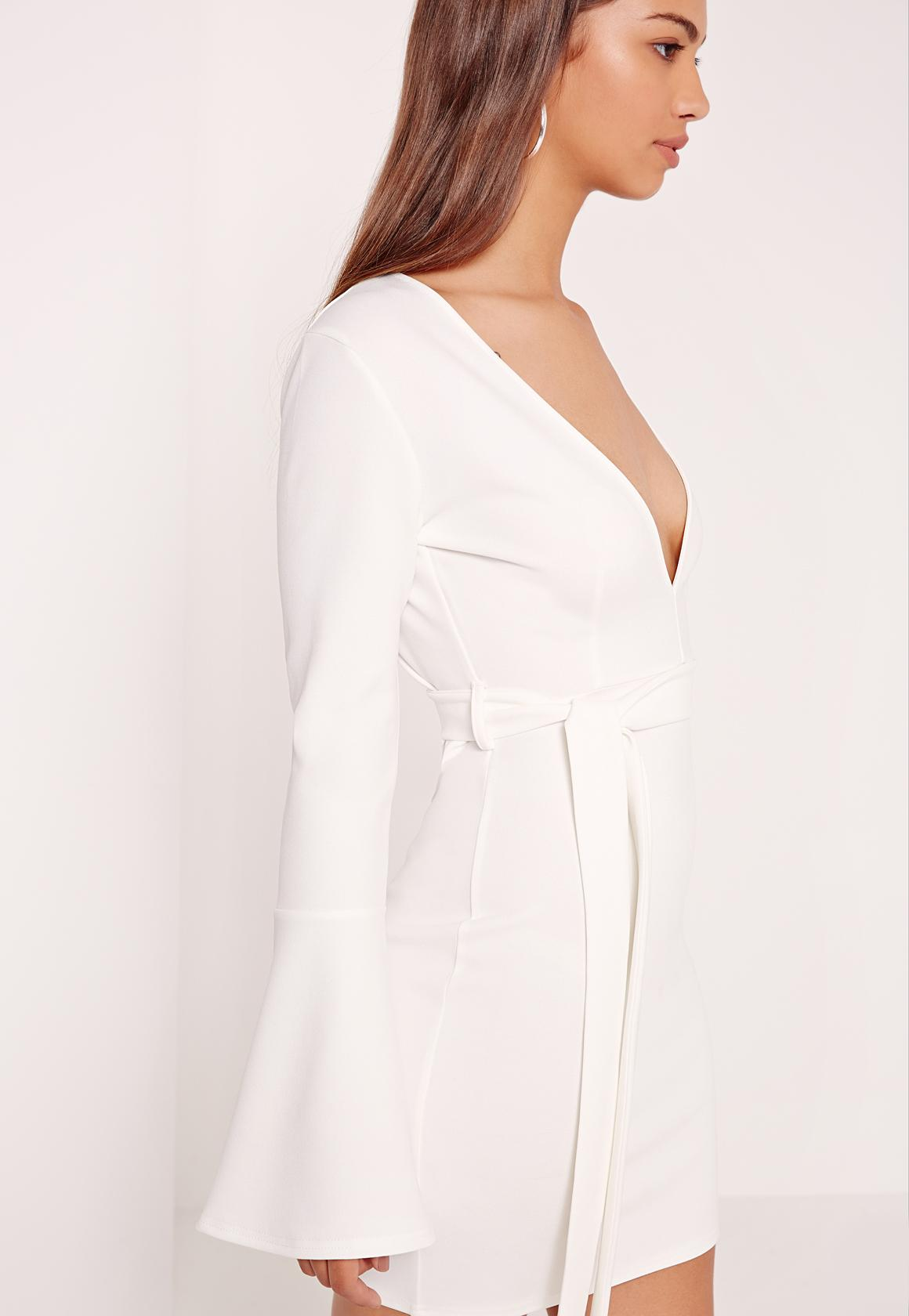Belted Plunge Bodycon Dress White