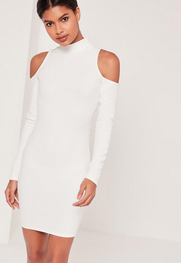High Neck Cold Shoulder Bodycon Dress White